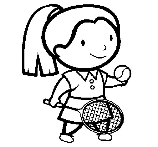 Female tennis player coloring page