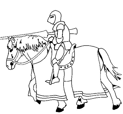 Fighting horseman coloring page