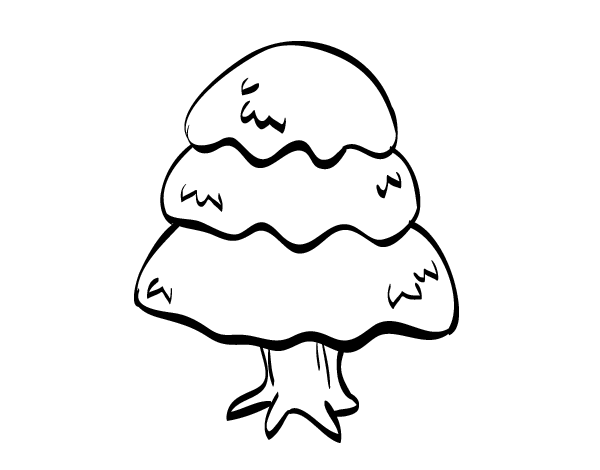 Fir with snow coloring page