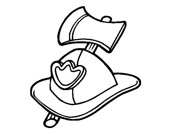 Fireman helmet and axe coloring page