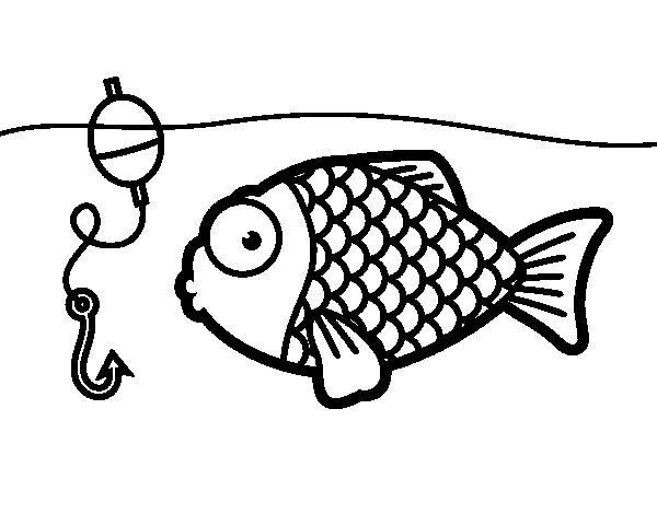 Fish about to take the fish hook coloring page