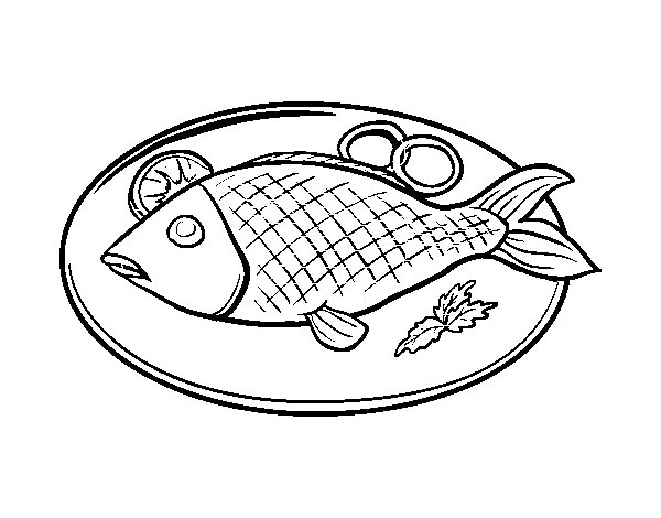 Fish plate coloring page