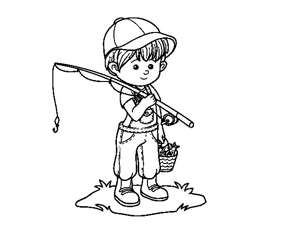 fisherman child coloring page - Coloringcrew.com
