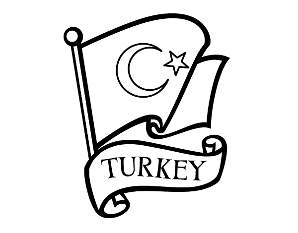 Flag of Turkey coloring page Coloringcrewcom
