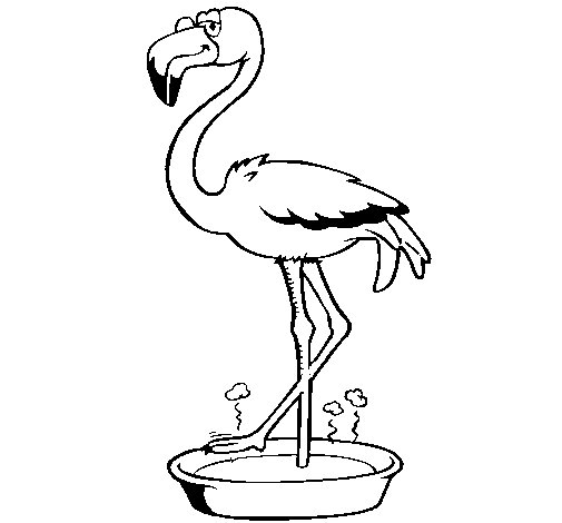 Flamingo with soaking feet  coloring page