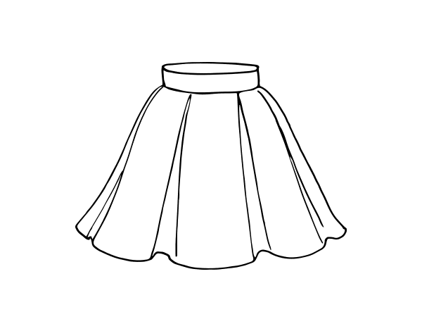 Flared skirt coloring page - Coloringcrew.com