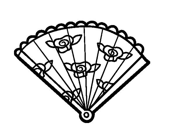 coloring pages fan | Floral hand fan coloring page - Coloringcrew.com