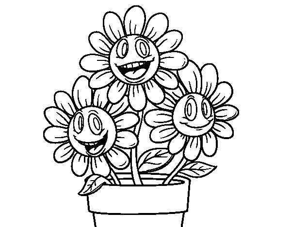 Flower pot coloring page Coloringcrewcom