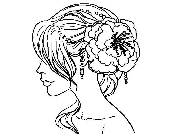 Flower wedding hairstyle coloring page - Coloringcrew.com