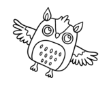 Flying Halloween owl coloring page