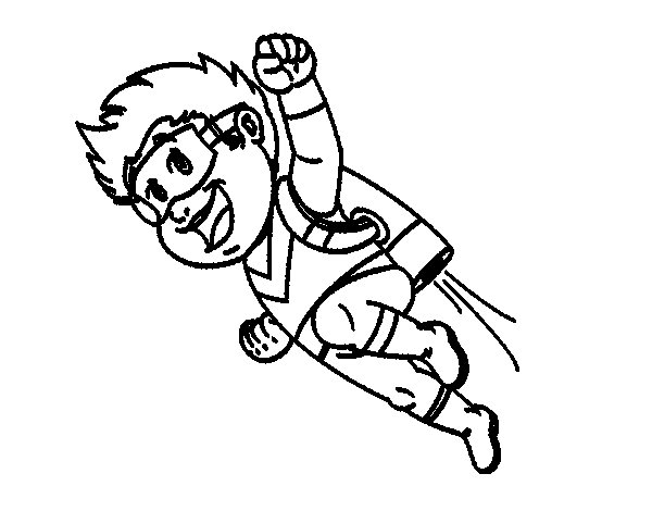 Flying hero coloring page