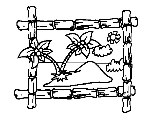 frame with palm trees coloring page - Palm Tree Coloring Pages Print