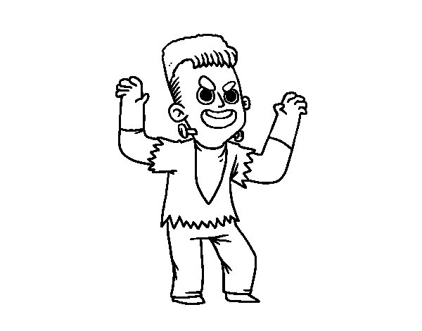 Frankenstein costume coloring page