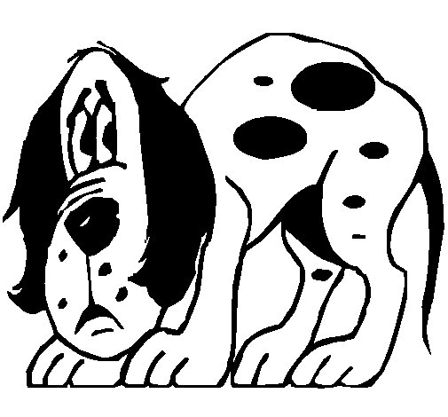 Frightened dog coloring page