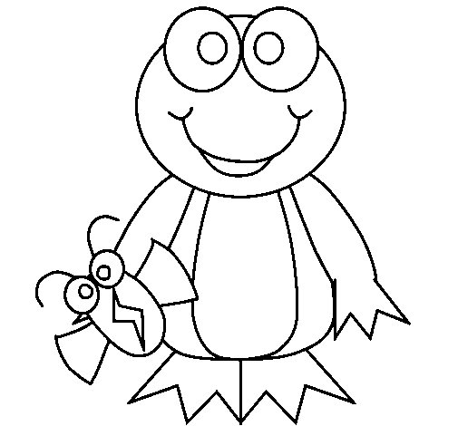 Frog and insect coloring page