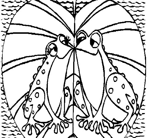 Frogs in love coloring page