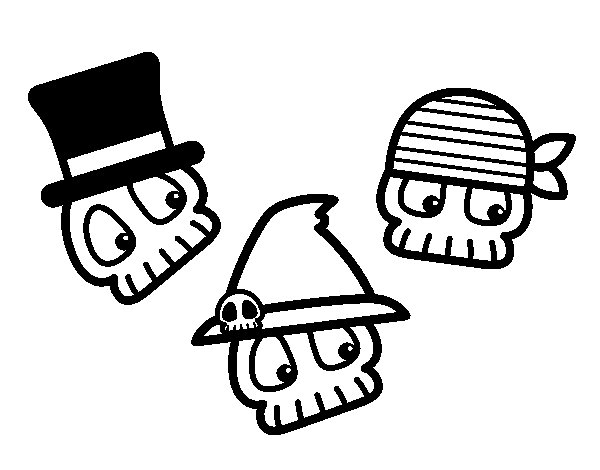 Funny skulls coloring page
