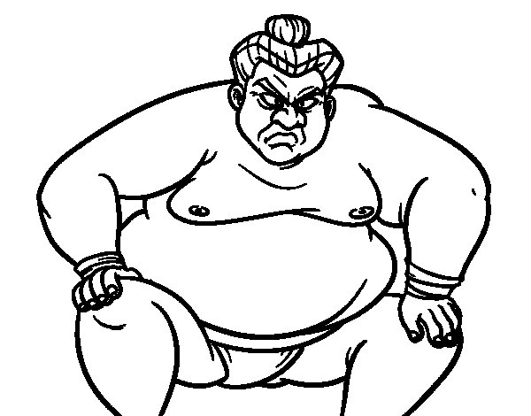 Furious sumo wrestler coloring page