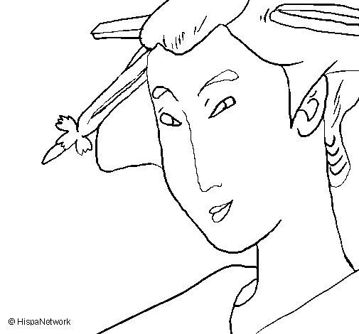 Geisha coloring page