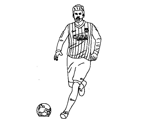 Gerard Piqué on the soccer field coloring page