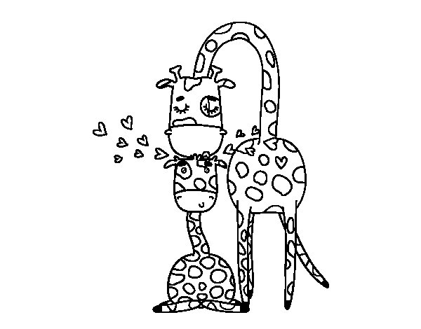Giraffe mother coloring page