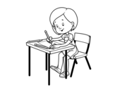 Girl at her desk coloring page