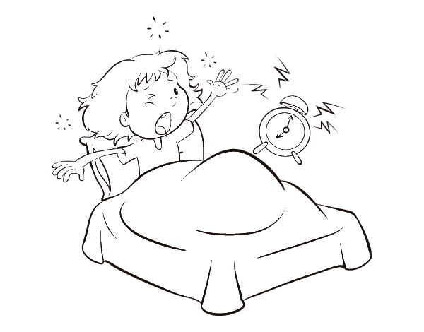 stretching out of bed coloring page coloring pages