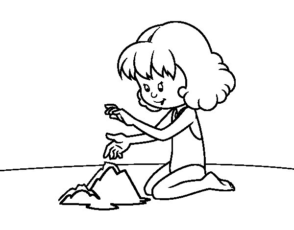 Girl making a sand castle coloring page
