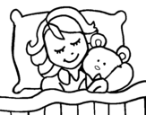 Girl sleeping coloring page