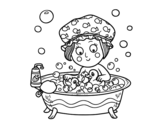 Girl taking a bath coloring page
