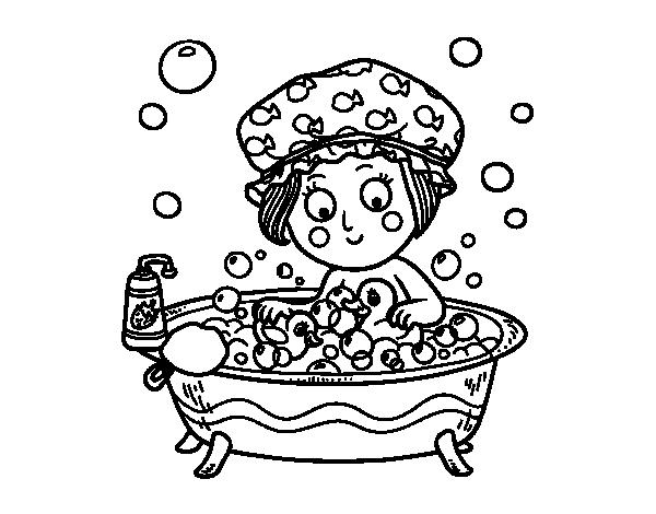 Girl taking a bath coloring page - Coloringcrew.com
