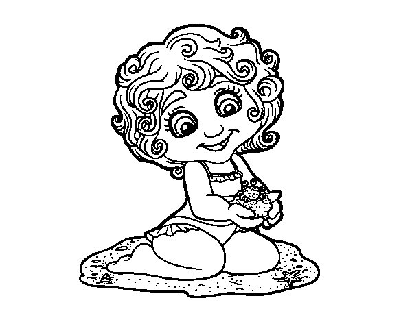 Girl with a crab coloring page