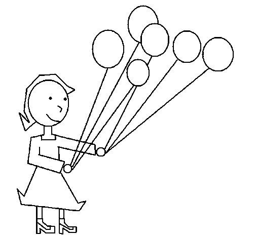 Girl with balloons coloring page