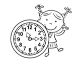Girl with clock coloring page