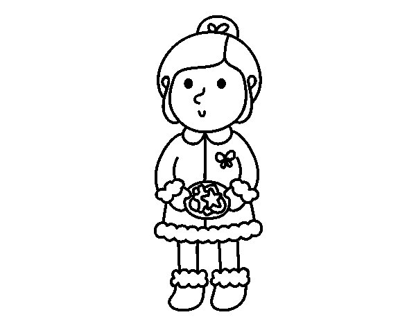 Girl with cookies coloring page