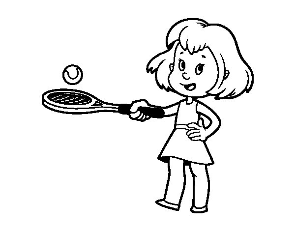 Girl with racket coloring page