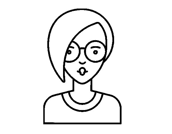 Girl with short hair coloring page