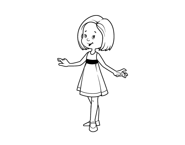Girl With Summer Dress Coloring Page