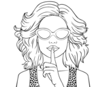 Girl with sunglasses coloring page