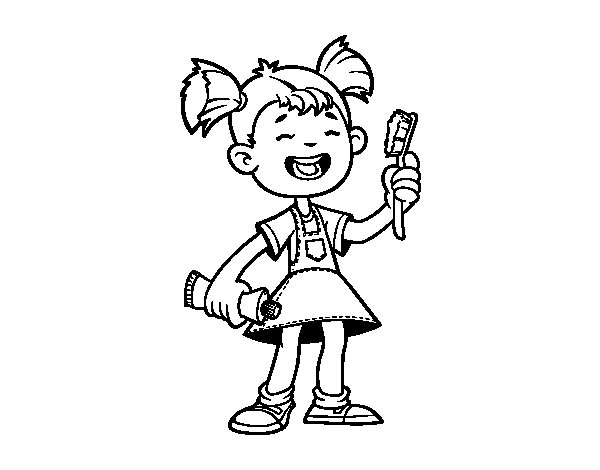 Girl with toothbrush coloring page Coloringcrewcom