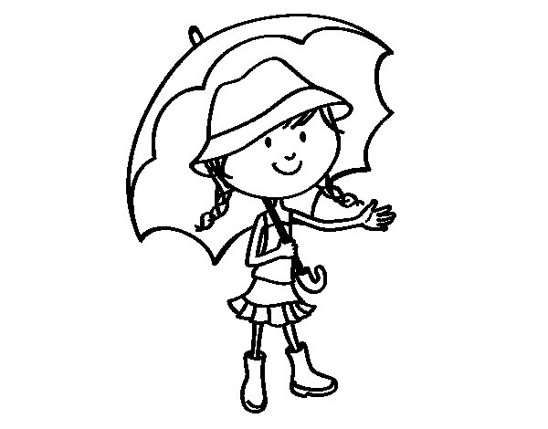 Girl with umbrella coloring page