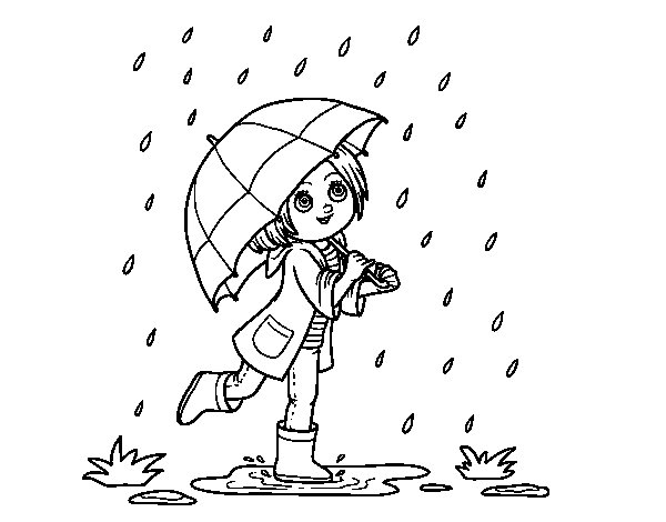 Girl with umbrella in the rain coloring page Coloringcrewcom