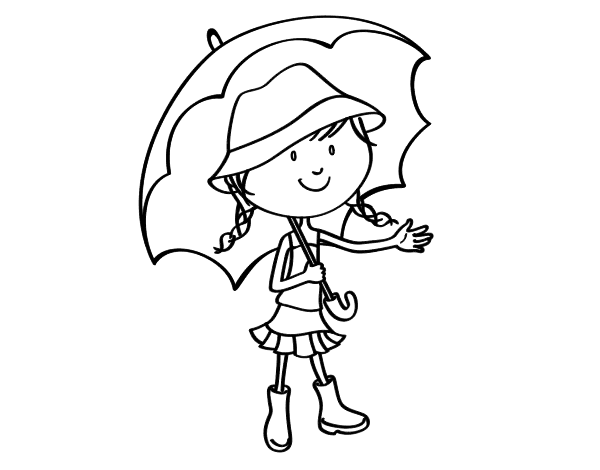 Girl With Umbrella Coloring Page Coloringcrew Com