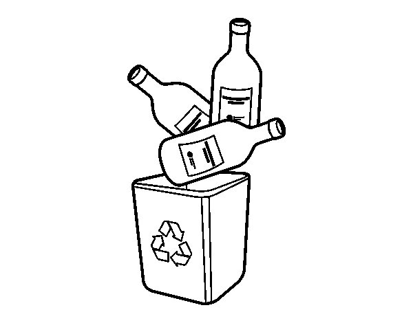 Glass recycling coloring page