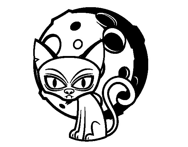 Gloomy cat coloring page