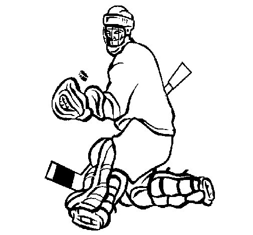 Goaltender stopping puck coloring page