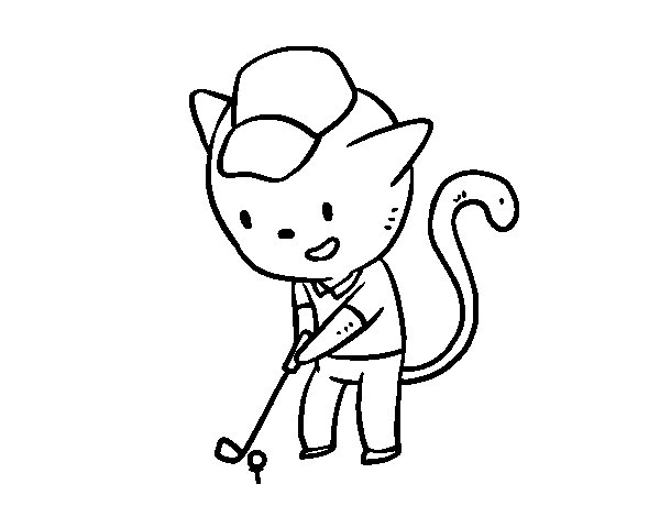 Golf cat coloring page