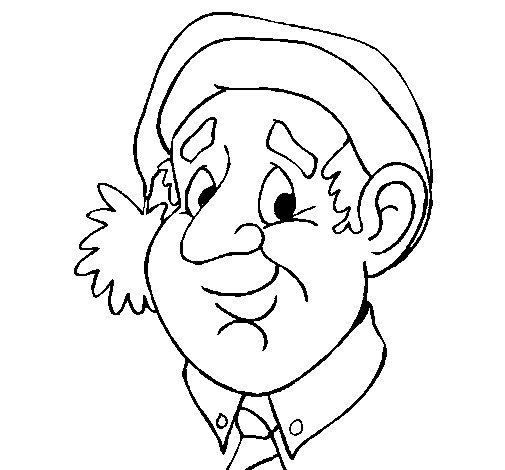 Grandfather with Christmas hat coloring page