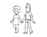 Grandparents walking coloring page
