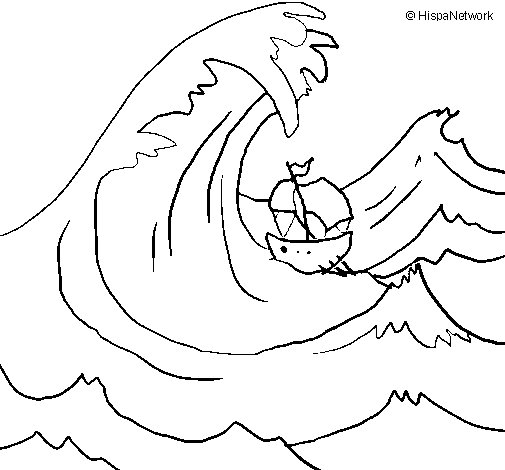 Great wave coloring page